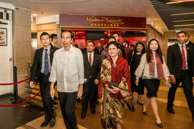 President Joko Widodo makes private visit to Madame Tussauds Hong Kong.