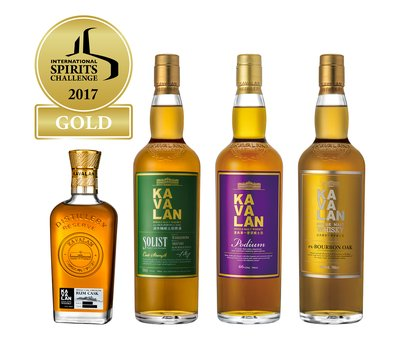 Kavalan wins four Golds at International Spirits Challenge