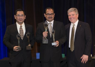 Representatives of Telkom Indonesia and Michael Gallagher, president and founder of the Stevie Awards at the 2016 Asia-Pacific Stevie Awards ceremony. Telkom Indonesia won the Grand Stevie for Organization of the Year in this year's competition for the third year in row.