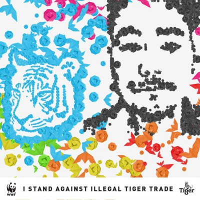 American rapper Dumbfoundead's selfie art generated by AI, in the artistic style of 3890 Tigers artist Mademoiselle Maurice. photo credit: Tiger Beer