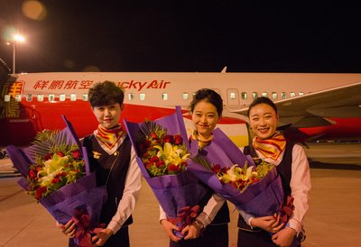 cabin crew of the maiden trip from Kunming to Manila