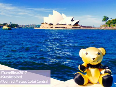 An entry with a Conrad signature gold bear and Sydney Opera House in the background –fans can upload a photo of one of the hotel's bears at a world famous landmark with the best photo winning a two-night stay in the property's Presidential Suite.