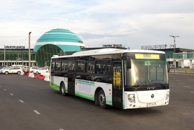 FOTON AUV bus is responsible for round trip airport transfer operation for honored guests of China Pavilion at Nazarbayev Airport in Astana
