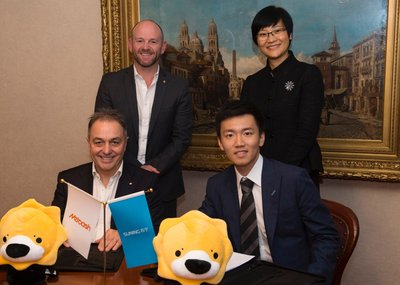 Steven Zhang, VP of Suning International Signing MoU with Ian Morrice, CEO of Metcash