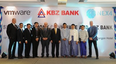 His Excellency, Mr Scot Marciel (middle) with executives from KBZ Bank, VMware and Nex4 during today's signing ceremony.