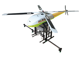 Unmanned helicopter - suitable for aerial photography and filming. Adopting the advanced FHSS technology to provide high transmission quality, communication between the aerial vehicle and GCS.