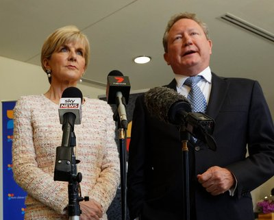 Australian Foreign Minister, The Hon Julie Bishop MP and Business Co-Chair, Andrew Forrest AO addresses the media at the Bali Process Government and Business Forum in Perth.