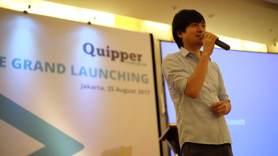 Country Manager Quipper Indonesia, Takuya Homma, delivering his speech at the Quipper Campus' launching ceremony