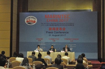 (from left to right) Ms Fu Chunhong, Vice Chairman of the Chinese Organising Committee of Marintec China, Mr Wu Jihong, Deputy Director, Shanghai Municipal Commission of Economy and Information Technology, and Mr Michael Duck, Executive Vice President, UBM Asia Ltd officiate at the Marintec China 2017 Press Conference