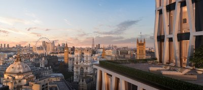 An apartment terrace at The Broadway with views towards Westminster, The City of London and The Shard beyond.