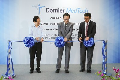 From Left to Right: Mr Philip Yeo (Chairman of Accuron MedTech), Dr Beh Swan Gin (Chairman of EDB Singapore) and Mr Abel Ang (CEO of Donier MedTech and Group CEO of Accuron MedTech) officially open Dornier MedTech's Asia Pacific Headquarters and Global Clinical Innovation Centre in Singapore.