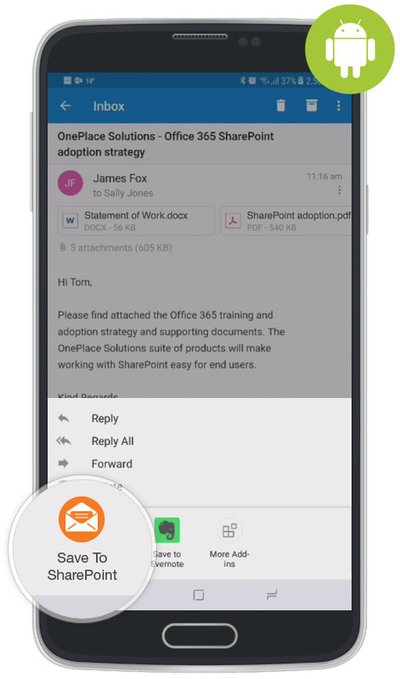 OnePlace Solutions has launched a new add-in for Microsoft Outlook on Android that enables Android users to seamlessly connect Outlook to Microsoft SharePoint