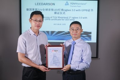 TUV Rheinland issued Zigbee 3.0 certification for the LEEDARSON LED Dimmable Bulb