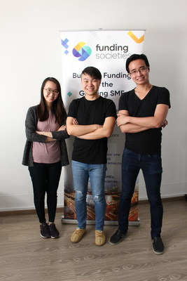 Interns Clarissa and Sherman with Kelvin Teo, Founder of Funding Societies