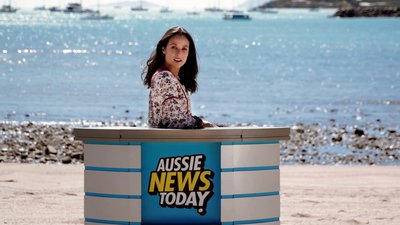 TV presenter Teigan Nash reporting for Aussie News Today from The Whitsunday's in Queensland.
