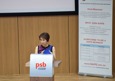 Ms Low Yen Ling, Senior Parliamentary Secretary, Ministry of Trade and Industry and Ministry of Education, addresses the delegates at the SAPE Annual Conference 2017 at PSB Academy's City Campus.