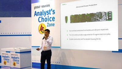 """Felix Liu, CEO of VOCOlinc, presented its all new PM2 Smart Wi-Fi Power Strip at the """"Analyst's Choice"""" event"""