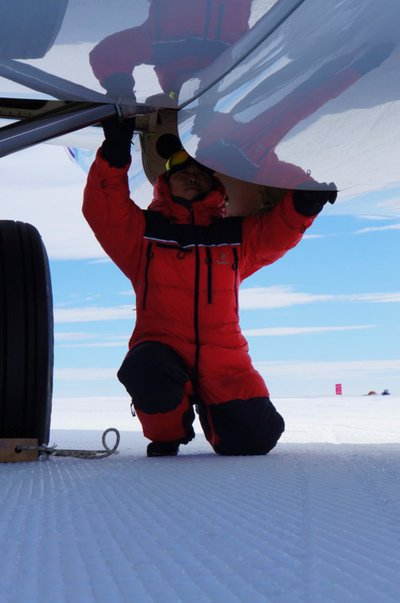 Deer Jet's Engineer Running Safety Tests on the Private Jet after Antarctic Landing