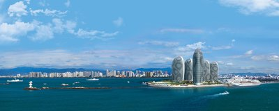 Gorgeous skyline of Sanya with modern architecture and tropical scenery.