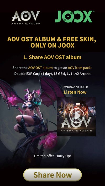 Listen to and share the epic music and awesome adventure of AOV through JOOX for a chance to take home a special edition AOV item pack.