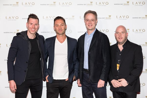From L-R: Patrick Lang, Vice President for Global Restaurant and Nightlife Development, Las Vegas Sands; Jason Strauss, Co-Founder, TAO Group; George Tanasijevich, President and Chief Executive Officer, Marina Bay Sands; Noah Tepperberg, Co-Founder, TAO Group, at LAVO Singapore opening party, Day 1