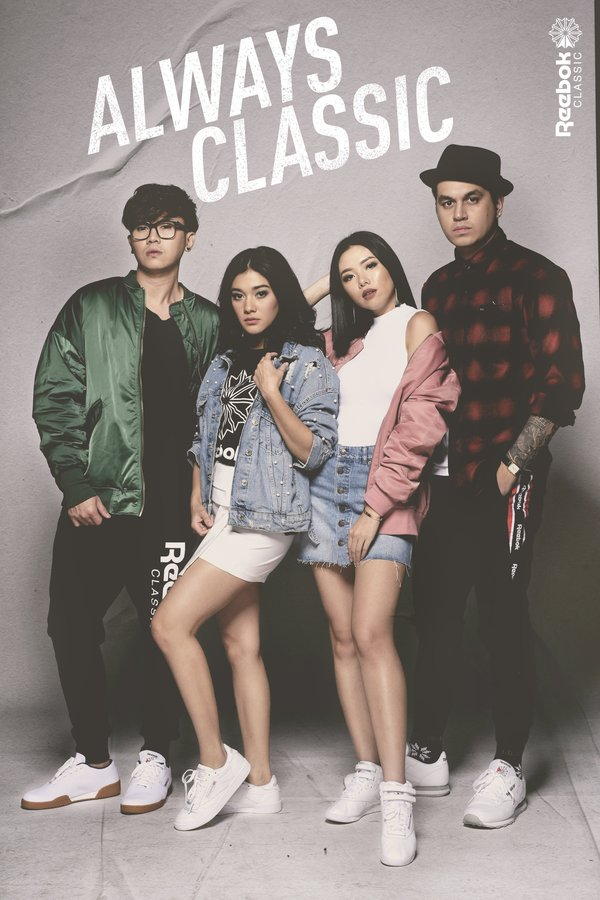 Reebok Classic's Always Classic campaign featuring Rafael Tanubrata, Naysilla Mirdad, Olivia Lazuardy and Kevin Julio (left to right)