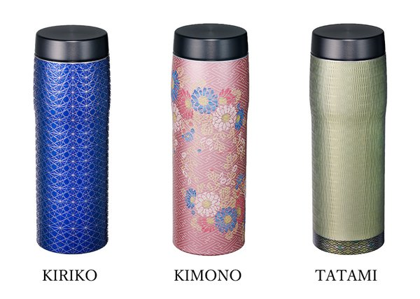 Stainless thermos featuring Japanese traditional craft designs