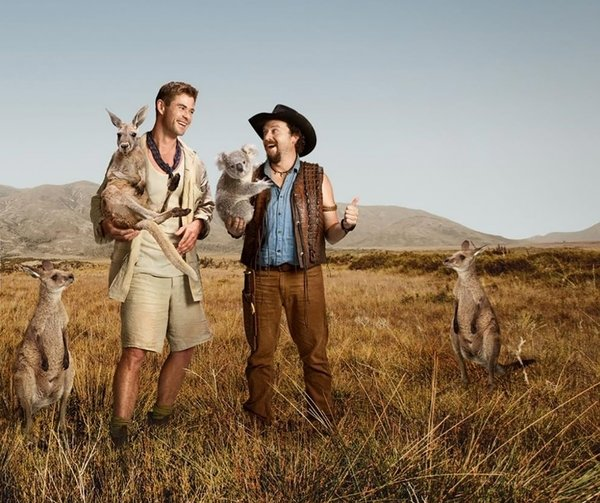 New Dundee campaign featuring Chris Hemsworth and Danny McBride with Australian wildlife