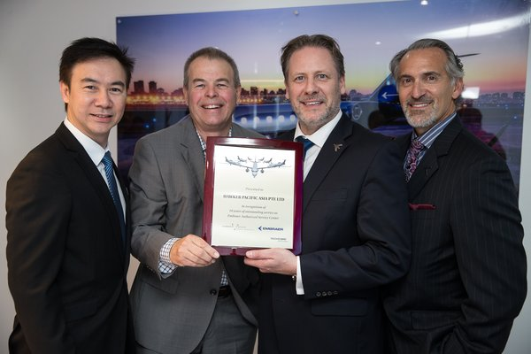 Left, Mr Louis Leong, Vice President Asia, Hawker Pacific Asia; Mr Doug Park, Chief Operating Officer Asia Pacific, Hawker Pacific; Mr Johann Bordais, President and CEO Services and Support for Embraer; Mr Michael T. Amalfitano, President and CEO, Embraer Executive Jets