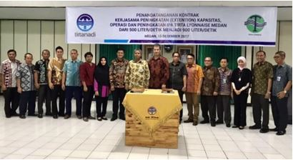 Signature of water production plant extension and ground-breaking ceremony in Medan, the capital of North Sumatra Province in Indonesia