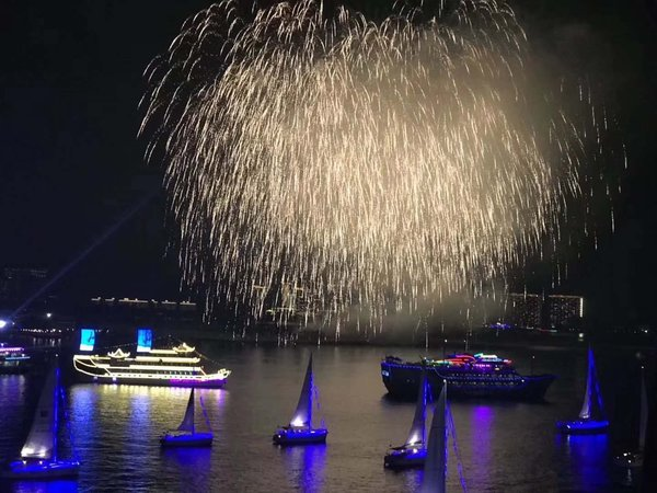 China New Year Festival Firework Above Sanya Phoenix Island