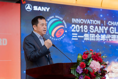 Mr. Xiang Wenbo, SANY Group Director & SANY Heavy Industry President delivers a speech