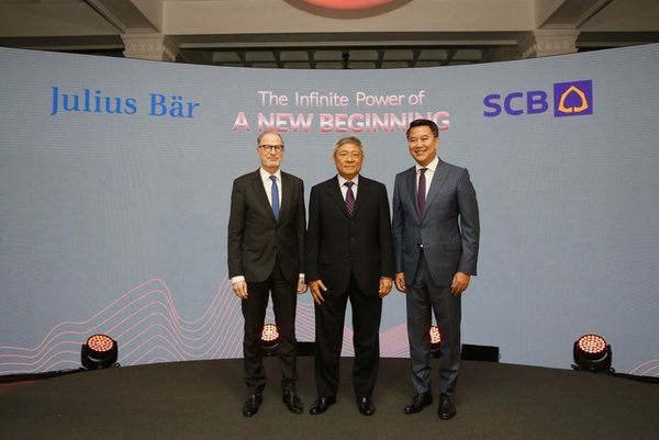 Mr. Bernhard Hodler, Chief Executive Officer of Julius Baer Group Ltd.; Dr. Vichit Suraphongchai, Chairman of the Executive Committee of SCB; and Mr. Arthid Nanthawithaya, SCB's President and Chief Executive Officer; signed an agreement to establish a joint venture to offer unique and best-in-class wealth management services to clients in Thailand.