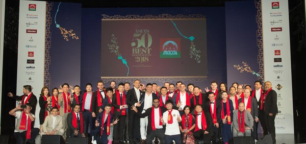 The winning chefs and restaurateurs celebrate at the sixth annual Asiaa��s 50 Best Restaurants awards ceremony, sponsored by S.Pellegrino & Acqua Panna, at Wynn Palace, Macau.