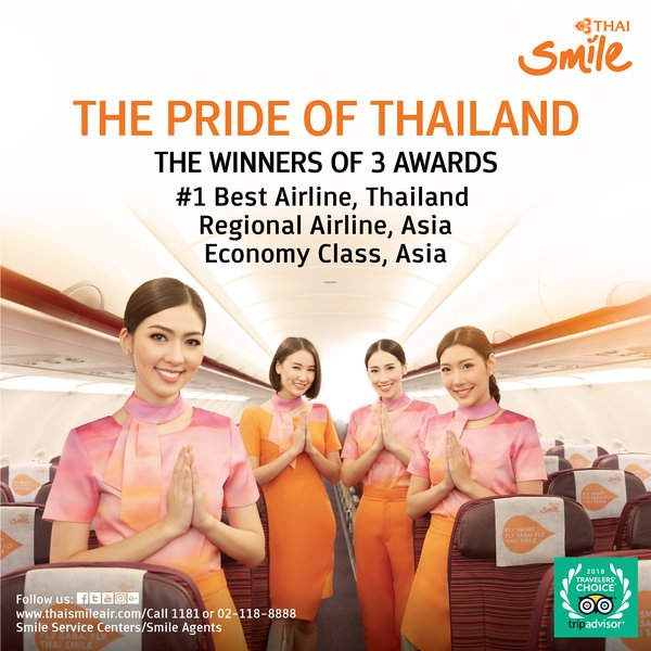 THAI Smile wins the Grand Prize from TripAdvisor for the second consecutive year, Best Airline in Thailand, Winner of Regional Airline in Asia and Winner of Economy Class Airline in Asia