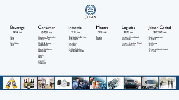 Jebsen Group is now organised under six diverse business lines: Jebsen Beverage, Jebsen Consumer, Jebsen Industrial, Jebsen Motors, Jebsen Logistics and Jebsen Capital.