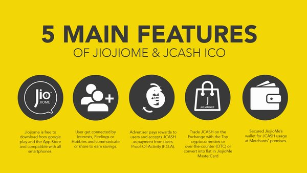 5 Main Features of JiojioMe & JCASH ICO