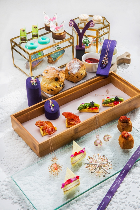 The talented Executive Sous Chef Benjamin Whatt of Four Seasons Hotel Macao crafted this artistic array of decadent afternoon tea set for French jewellery designer Isabelle Langlois