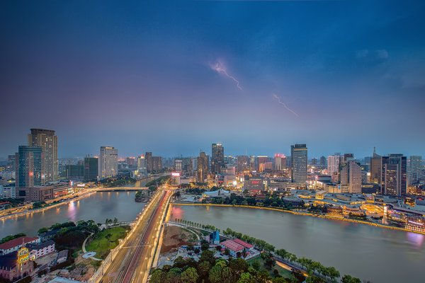 Night View of Sanjiangkou in Ningbo