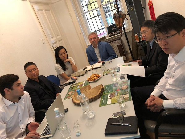 Mr Zhou Hong Bao Chairman of Hungarian China Cultural Association (2nd from left), Mr. Jeno Memeth, Managing Director of Silvanus Forestry (Centre) with Mr Jerome Ang Chairman of Belt and Road Fintech Development Center (Right) and Mr Zhu Xin Yue Secretary General of Belt and Road Fintech Development Center (2nd from right)