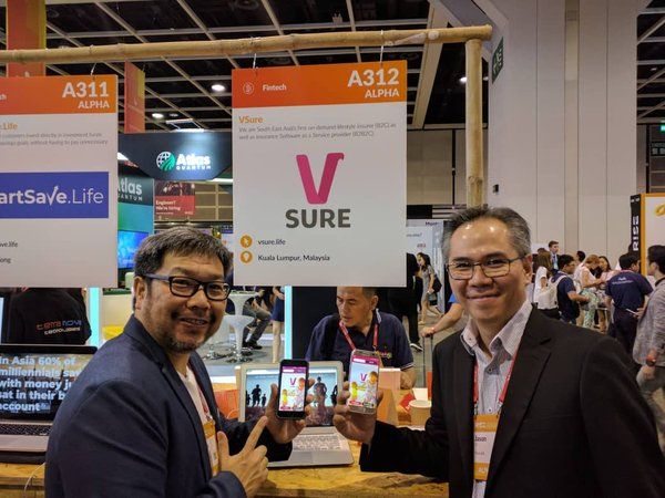 Chairman & Co-founder Eddy Wong and CEO & Co-founder Jason Ho showcase VSure.Life's on-demand insurance app at RISE Hong Kong