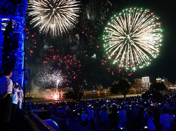 Spectacular firework show lighted up the sky of Tamsui River