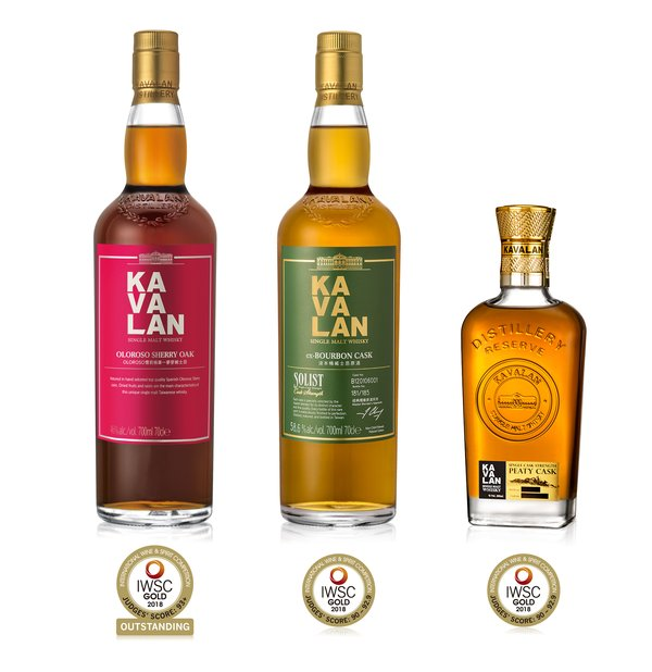 """Kavalan awarded """"Gold Outstanding"""" and """"Gold"""" at 2018 International Wine & Spirit Competition."""