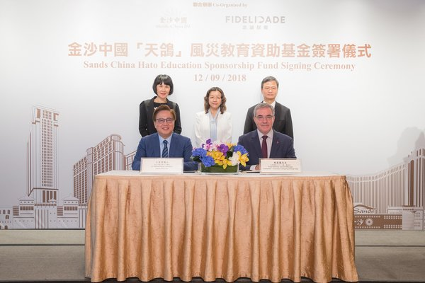 Sands China Ltd. has started a Hato Education Sponsorship Fund, benefiting six children and young adults who lost a parent to Typhoon Hato when it hit Macao in August 2017. A signing ceremony for the fund was held Wednesday at Sands® Macao.