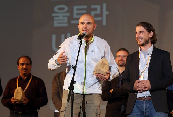 """Balazs Simonyi, director of the documentary film """"Ultra,"""" speaks after winning the grand prize in the international competition section during the closing ceremony of the 3rd Ulju Mountain Film Festival."""