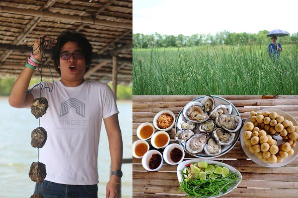 Enjoy fresh oyster with local sauce and Long Kong, delicious local fruit