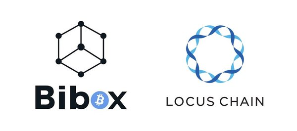 Logos: Bibox exchange (left) and the Locus Chain Foundation