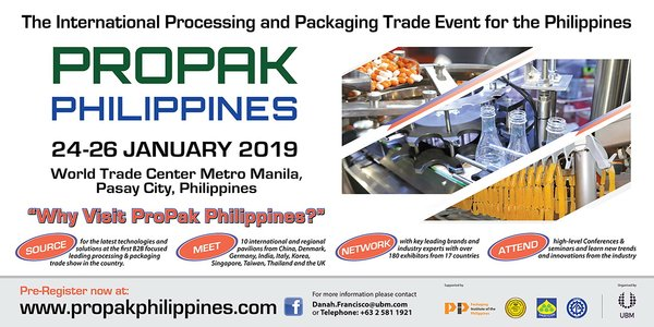 UBM Asia launches ProPak Philippines 2019 on 24-26 January at the World Trade Center Metro Manila