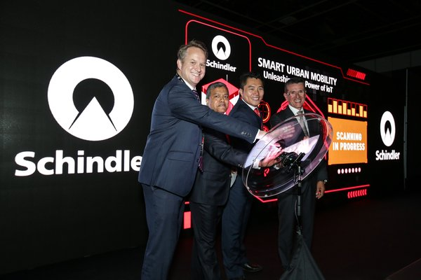 Schindler Singapore Launches Schindler Ahead. From left to right: Ben Robinson -- Chief Executive Officer of Raffles Quay Asset Management, Jujudhan Jena -- Chief Executive Officer of Jardine Schindler Group, Dr. Qiu Hai -- Managing Director of Schindler Lifts Singapore Pte Ltd and Guntram Begle -- Senior Vice President of Schindler Digital Group.