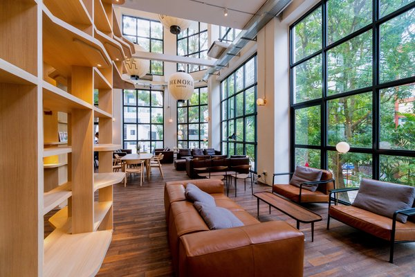 "Shu Fu reads as ""book"" and also ""comfortable"" in Mandarin. Sunlit and surrounded by floor to ceiling windows and lush greenery, it is perfect for reading or meeting with friends over an artisanal coffee at habitat's very own Hinoki café."